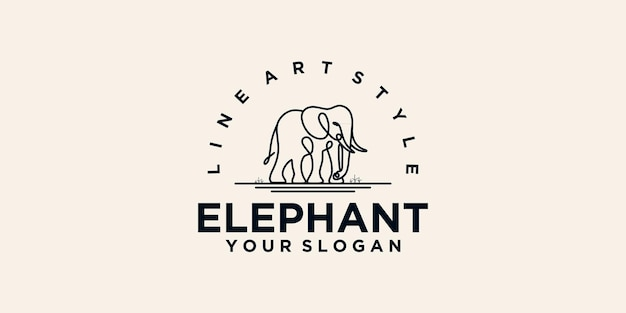 라인 아트가 있는 코끼리 로고, 비즈니스용 로고 참조