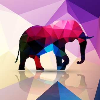 Elephant made of polygons background