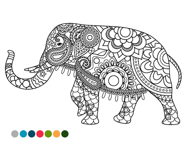 Elephant mandala ornament with colors samples