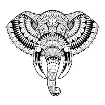 象のマンダラzentangle線形スタイル