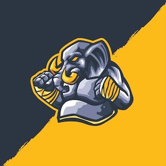 スポーツマスコットに適した象のマスコット漫画のロゴのテンプレート