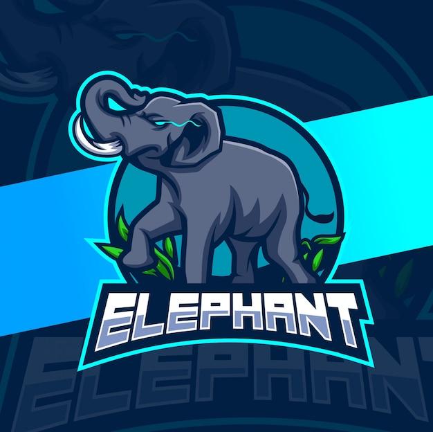 象のマスコットのeスポーツのロゴデザイン