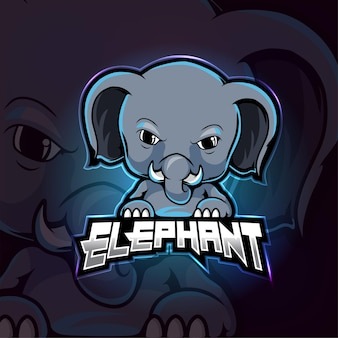 Слон талисман киберспорт дизайн логотипа