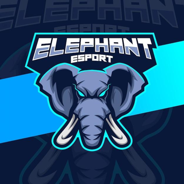 象のマスコットeスポーツのロゴ