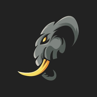 Elephant mascot logo design illustration