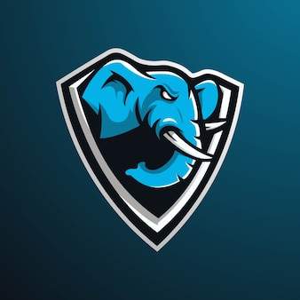 Elephant mascot logo design with modern illustration concept style for badge, emblem and gaming. angry  elephant illustration for e-sport team