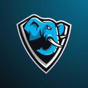 배지, 엠블럼 및 게임에 대한 현대적인 그림 개념 스타일로 코끼리 마스코트 로고 디자인. e 스포츠 팀을위한 화가 코끼리 그림