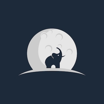 Elephant and moon logo