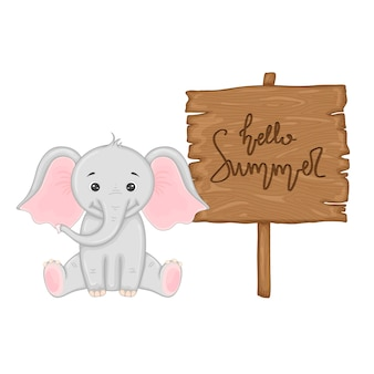 Elephant near wooden signboard with the inscription