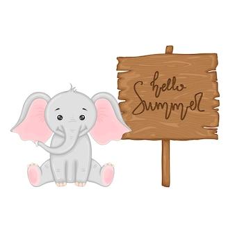 ベクトルで「こんにちは夏」の碑文と木製看板の近くの象。漫画のイラスト。