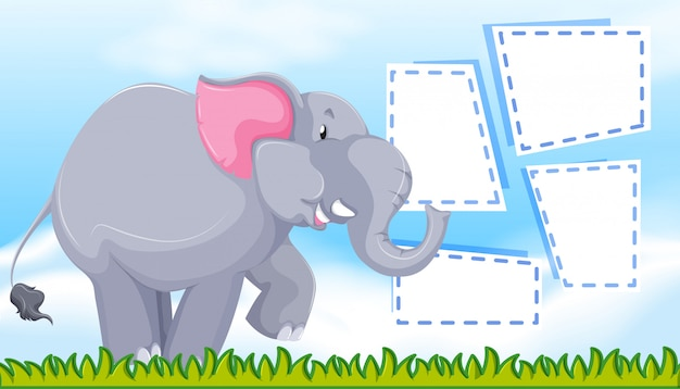 Elephant on note template