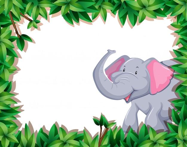 자연 테두리에 코끼리
