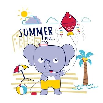 해변에서 코끼리 재미 있는 동물 만화