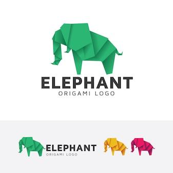 Elephant origami logo template