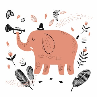 Elephant playing the music