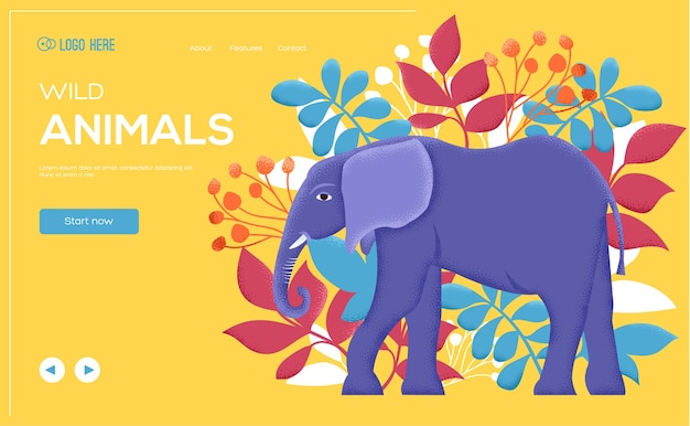 Elephant poster, book cover, banners. layout illustration modern slider page. grain texture and noise effect. elephant concept flyer, web banner, ui header, enter site background.