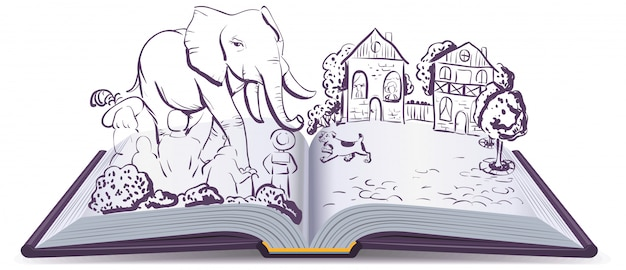 Elephant and pug story. illustration open fable book