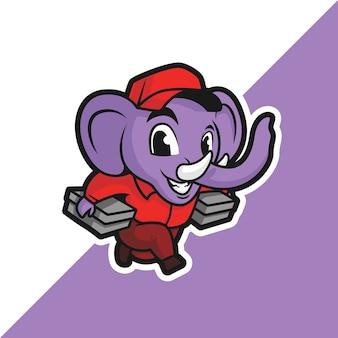 2つの箱を持って走っている象。赤いユニフォームで。
