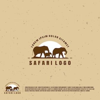 Elephant safari illustration logo