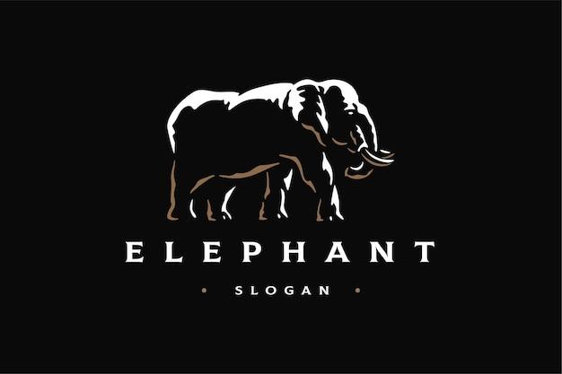 象の側面図高級ロゴブランドテンプレート