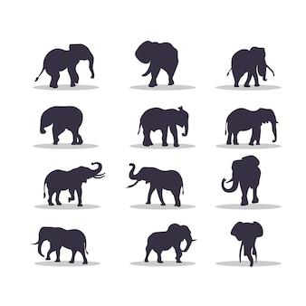 象のシルエットベクトルイラストデザイン