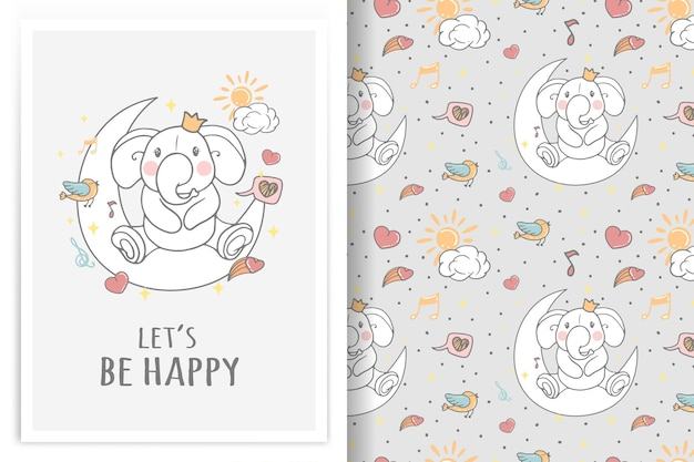 Elephant sitting on moon illustration  and seamless pattern