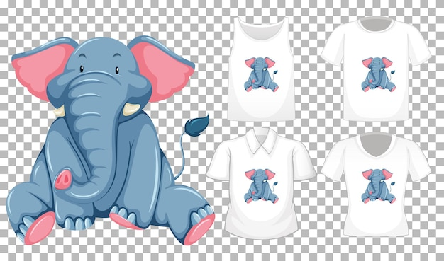 Elephant in sitting position cartoon character with many types of shirts on transparent background