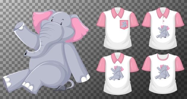 Elefante in posizione seduta personaggio dei cartoni animati con molti tipi di camicie