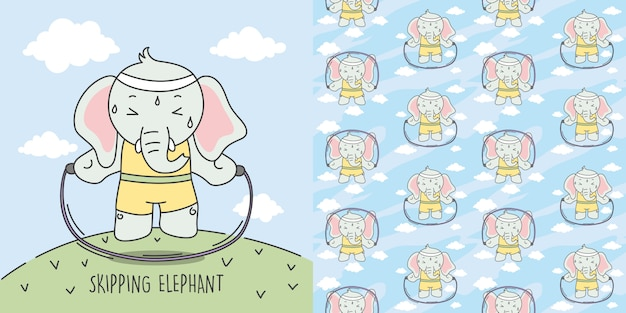 Elephant skipping to make the body ideal and seamless pattern