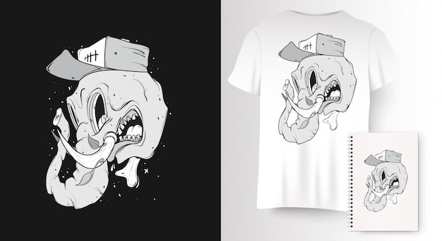 엘리펀트 스컬 티셔츠 프린트.