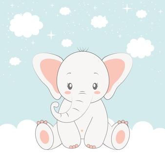 Elephant over sky
