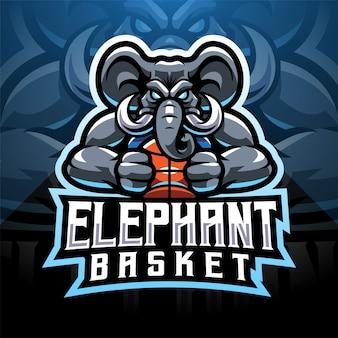 象のスポーツeスポーツマスコットのロゴデザイン