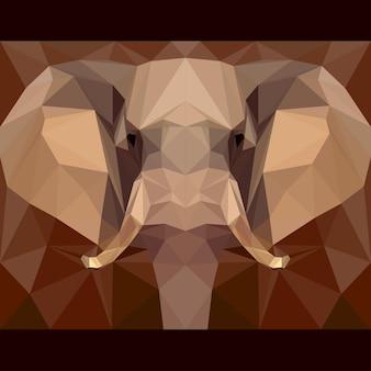 코끼리는 앞을 응시합니다. 자연과 동물 생활 테마 배경입니다. 디자인 카드, 초대장, 포스터, 배너, 현수막, 빌보드 표지에 대한 추상 형상 다각형 삼각형 그림