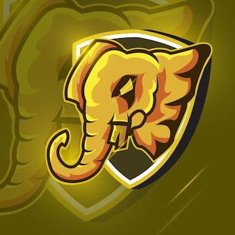 Elephant strong head esport mascot logo for esport gaming and sport premium free vector