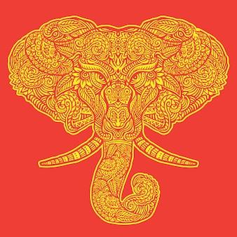 Elephant style illustration with mandala pattern