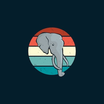 Elephant and sunset in vintage style logo