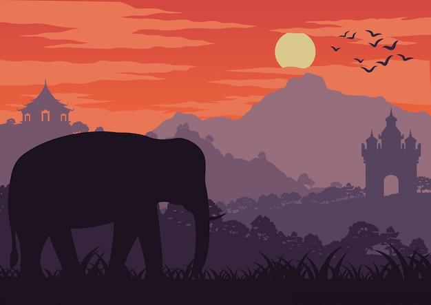 タイとラオスの象のシンボルが森の中を歩く