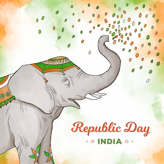Elephant throwing confetti indian republic day