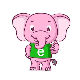 Слон в зеленой рубашке с алфавитом с большим пальцем