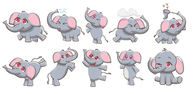 Elephant vector set graphic clipart