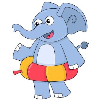 水泳用タイヤを身に着けている象、ベクトルイラストアート。落書きアイコン画像カワイイ。