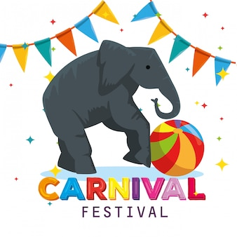 Elephant wild animal with ball and party banner