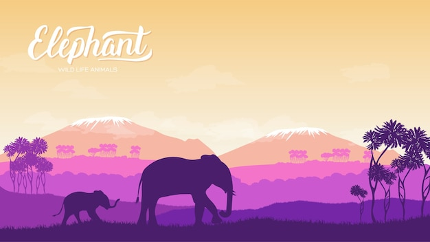 子供と象は、環境の図にあります。自然アフリカの概念に対する野生動物。