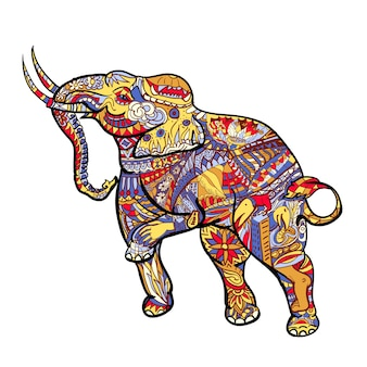 Elephant with elegant decorative pattern with posting of thai traditional art