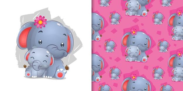 패턴 일러스트를 위해 그린 젤리 손으로 앉아 꽃과 코끼리