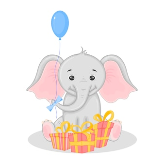 Elephant with gifts and balloon