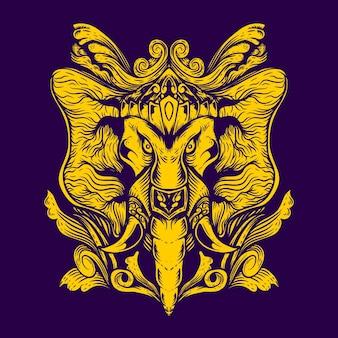ガネーシャの装飾シンボルを持つ象