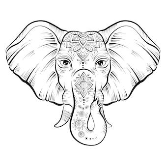 화려한 연꽃 mandal와 코끼리