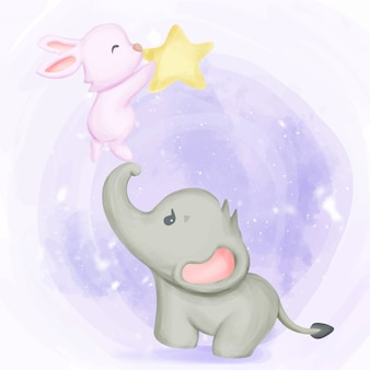 Elephant with rabbit playing star