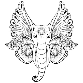 Elephant with wings instead ears. perfect for ethnic tattoo art, yoga, boho design.